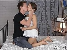Bound ended up in anal sex and pecker all over the toilet