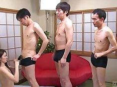 Japanese bimbo suffers hellening blowjob from geek