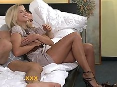 blonde young using dildo for orgasm