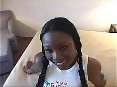 Ebony teen Angel gets facial and asshole eaten