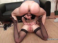 Slutty brunette gets double penetrated
