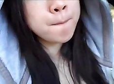 Asian girlfriend having sex in public place