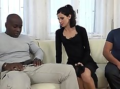 Cuckold watches as wife fucks amateur black guys while husband away