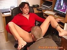 Their bossfs wife fucking their boss in his office while he is gone