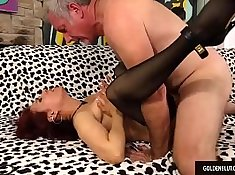 Latina blows fat cock for Older Beauty