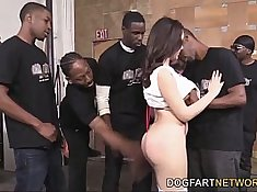 Valentina Nappi sucks on a phallus of a big black cock, then gets it hard in the mouth